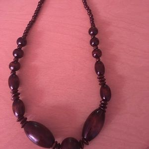 Wooden necklace with matching earrings